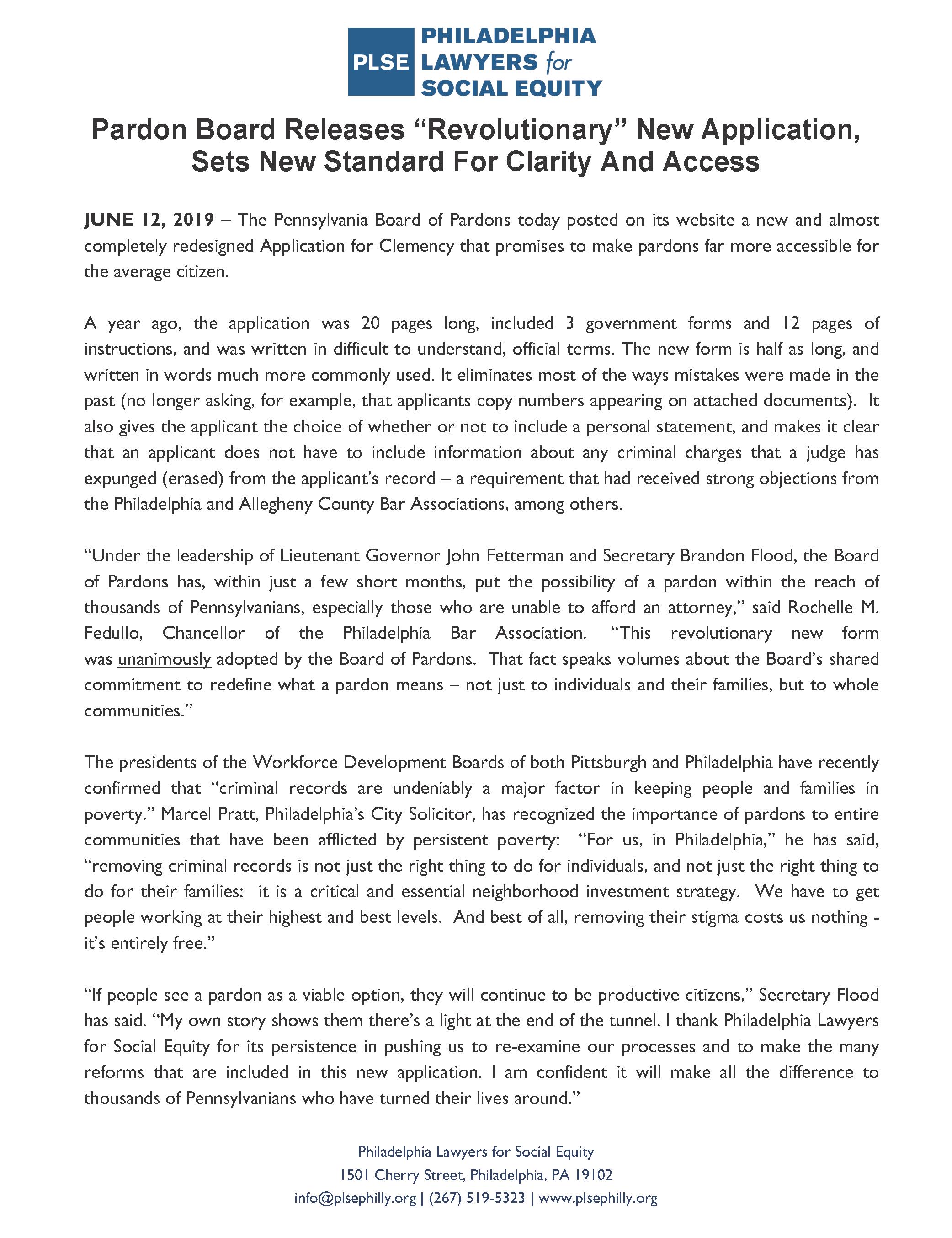 PLSE press release 06/12/2019