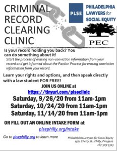 Criminal Record Clearing Clinic with PEC @ Virtual Zoom Clinic