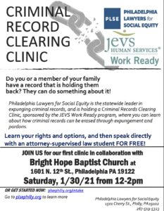 JEVS - Criminal Record Clearing Clinic @ Bright Hope Baptist Church