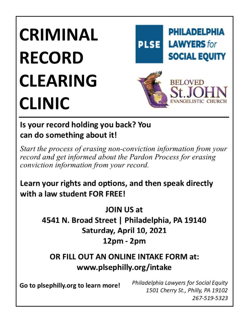 Criminal Record Cleaning Clinic - Beloved St. John Evangelsitic Church @ Beloved St. John Evangelistic Church